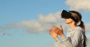 Woman Virtual Reality Game Clouds Ar