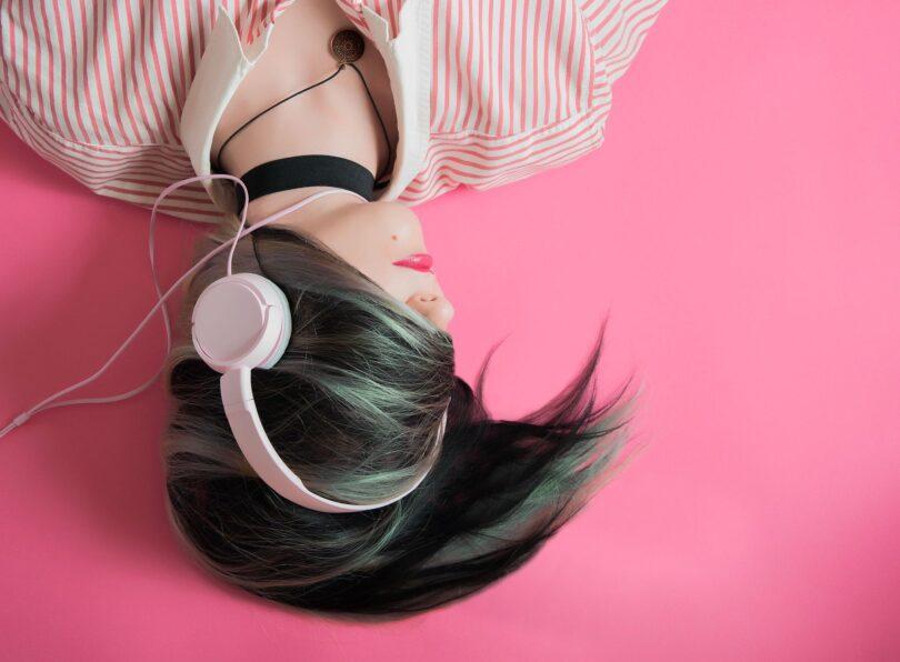 Girl Music Fashion Listen Headphones Headsets
