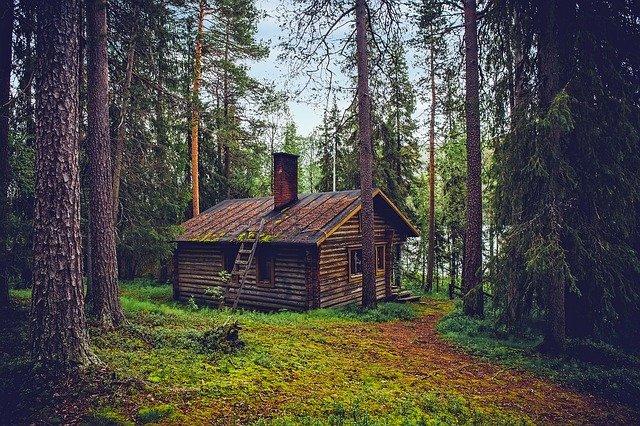 Log Cabin Cottage House Home Finland Landscape